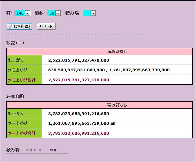 青天井版麻雀点数計算機を作ってみた